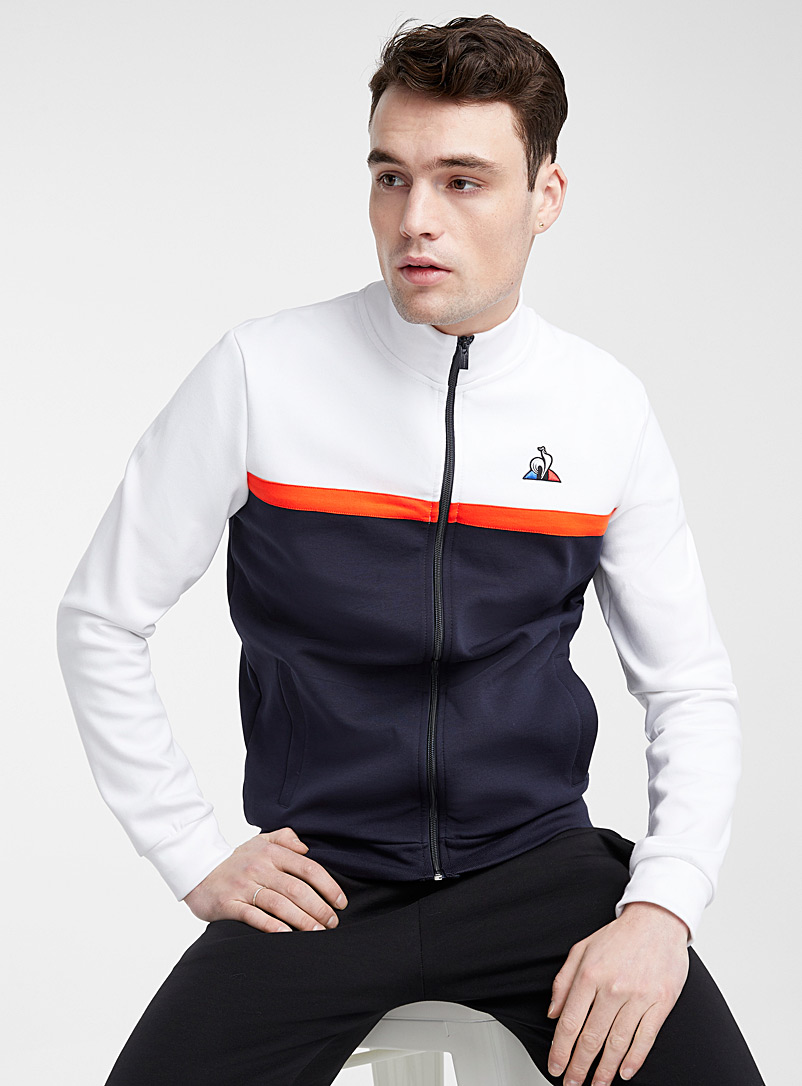 Le coq sportif White Tricolour block cardigan for men