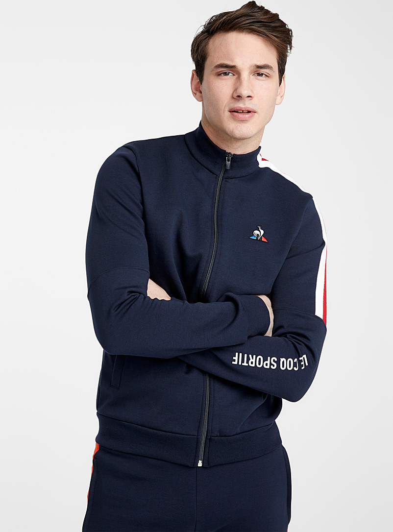 Le coq sportif Marine Blue Contrast band sweat cardigan for men