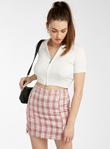 Fitted check miniskirt