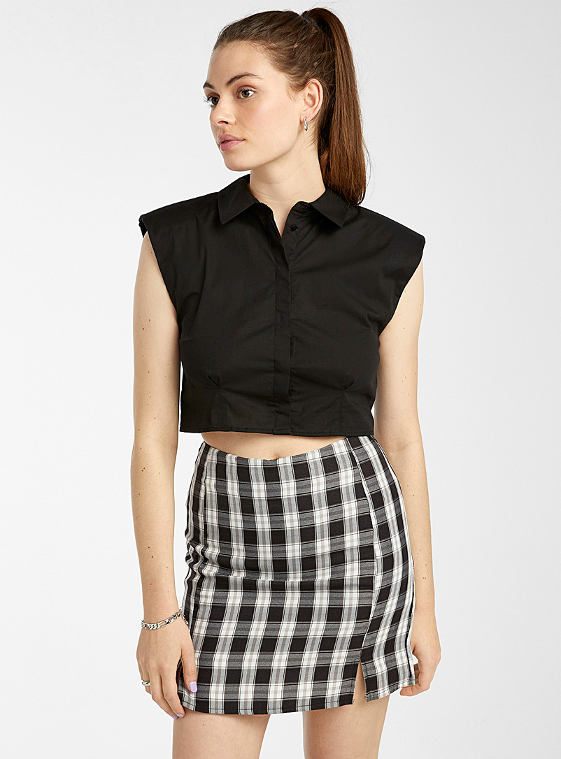 Twik Patterned Black Fitted check miniskirt for women