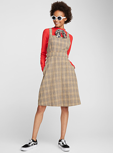 Antique check apron dress