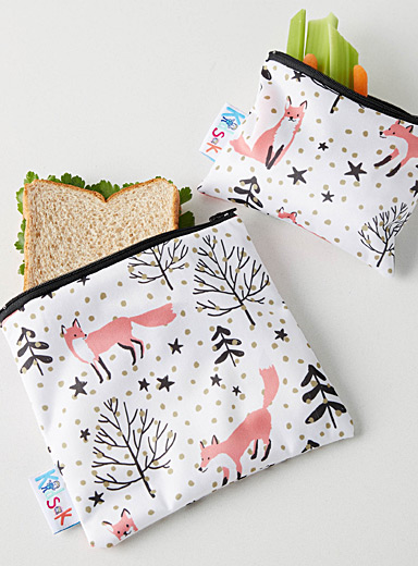 Fox in the forest reusable snack bags  Set of 2