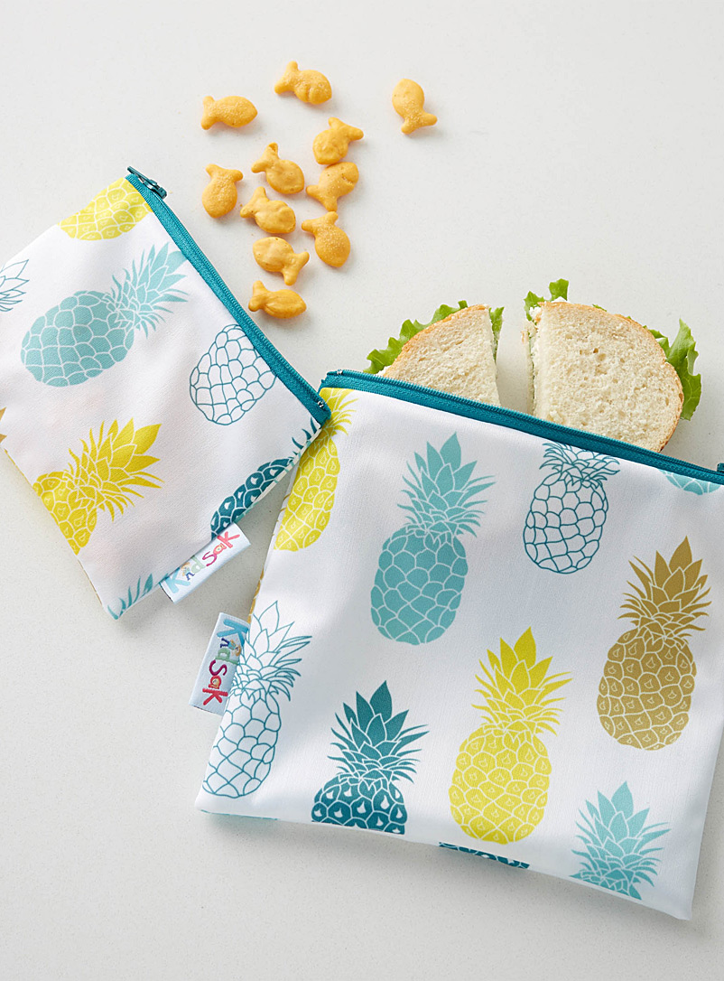 Kidsak Assorted Pineapple reusable snack bags  Set of 2