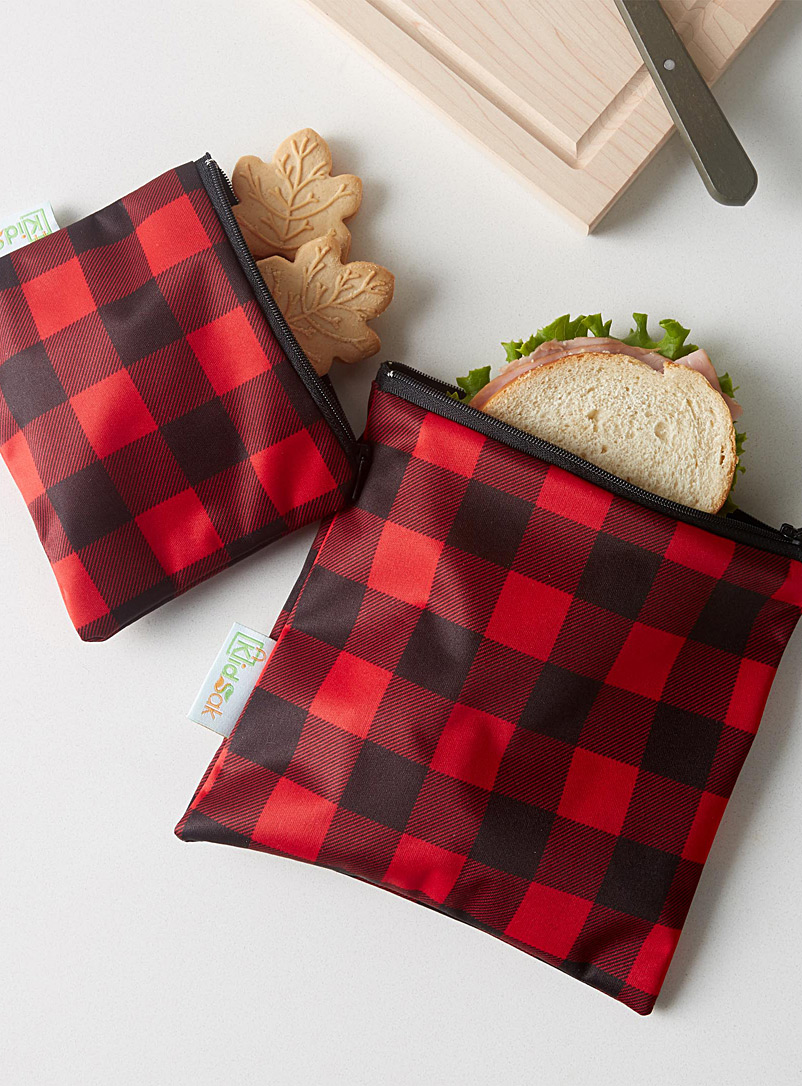 Hunter check lunch bags  Set of 2 - Packed Lunches - Assorted