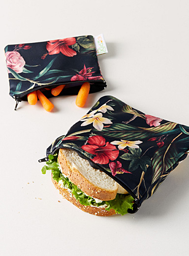 Enchanting flower reusable snack bags  Set of 2
