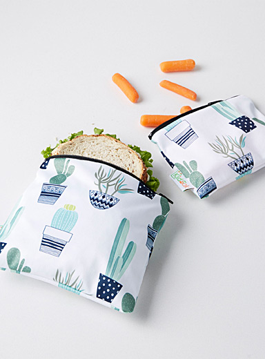 Potted cactus reusable snack bags <br>Set of 2