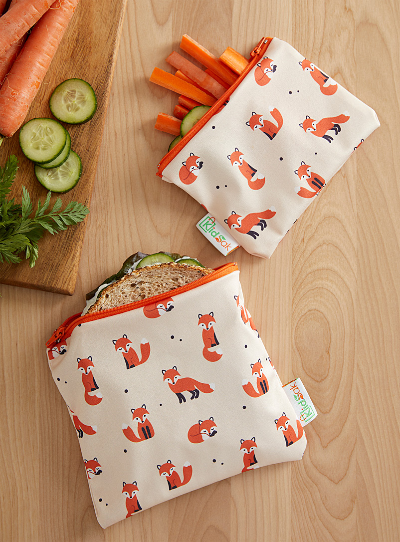 Kidsak Assorted Red fox reusable snack bags Set of 2