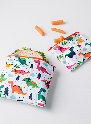 Dinosaur reusable snack bags <br>Set of 2