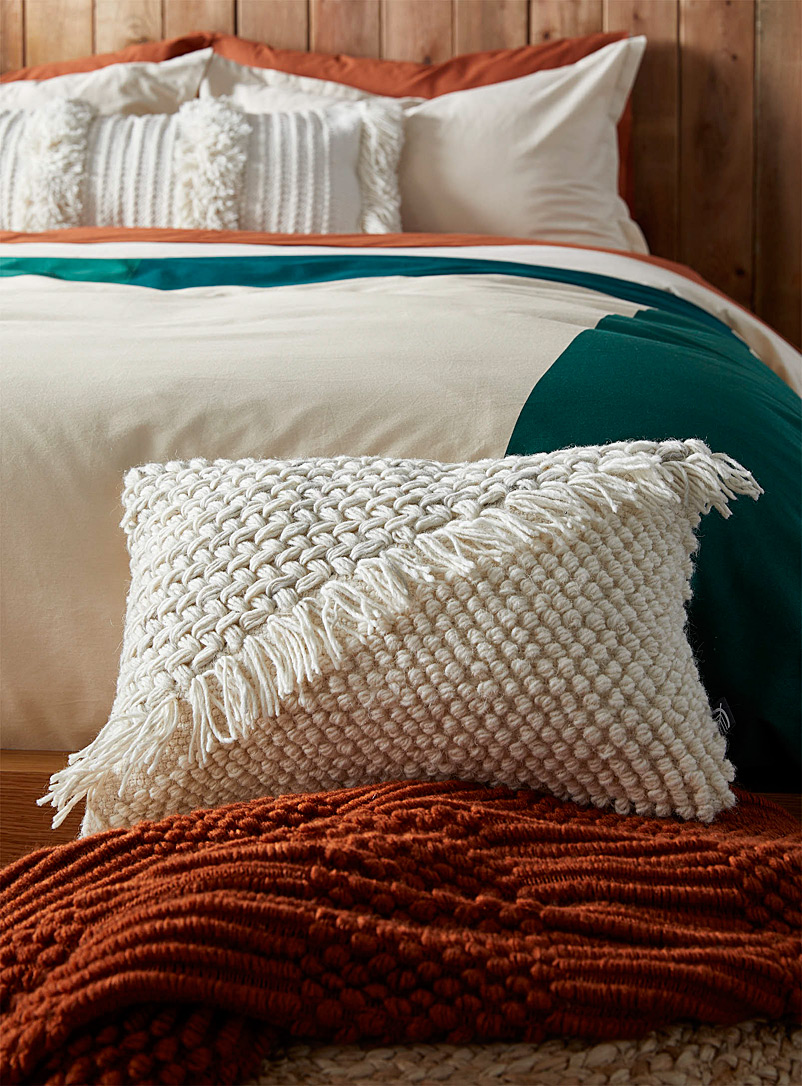 "Simons Maison Ivory White Knit-duo cushion  12"" x 18"""
