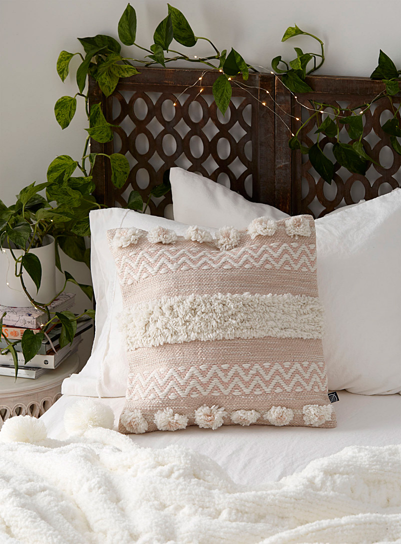 Simons Maison Dusky Pink Pompoms and stripes cushion  18