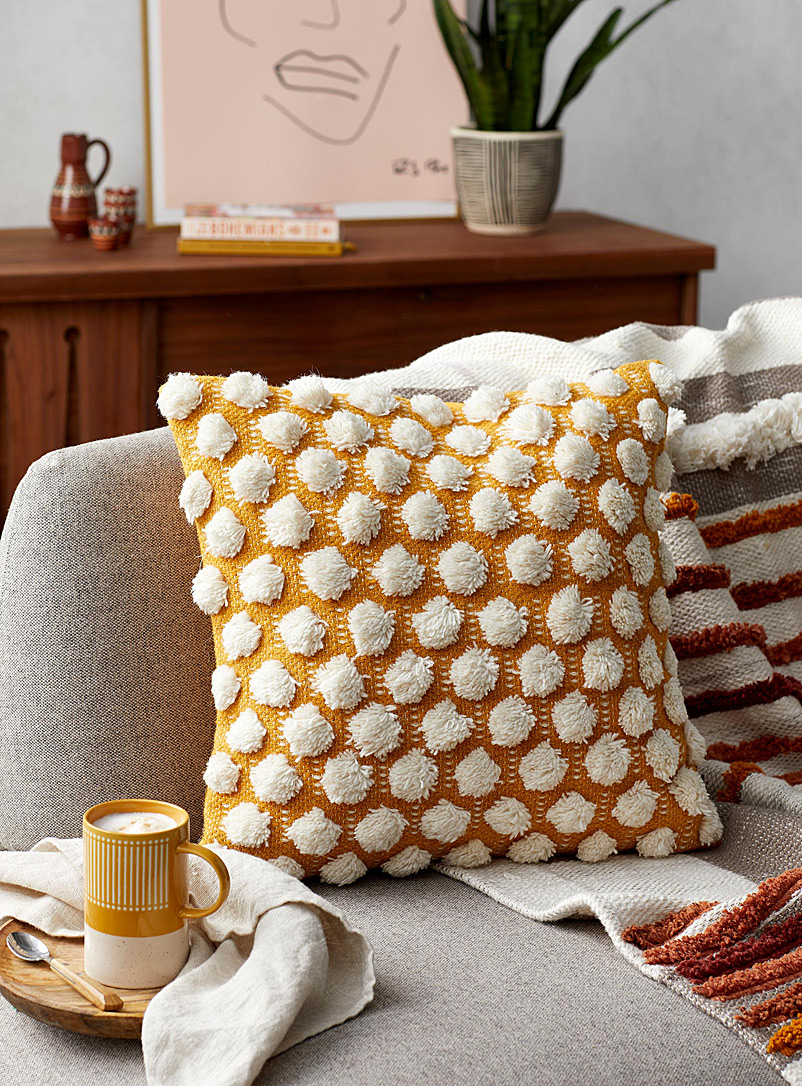 Pompom ochre cushion  18&quote; x 18&quote; - Cushions - Dark Yellow