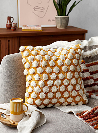Textured pompom cushion  18&quote; x 18&quote;