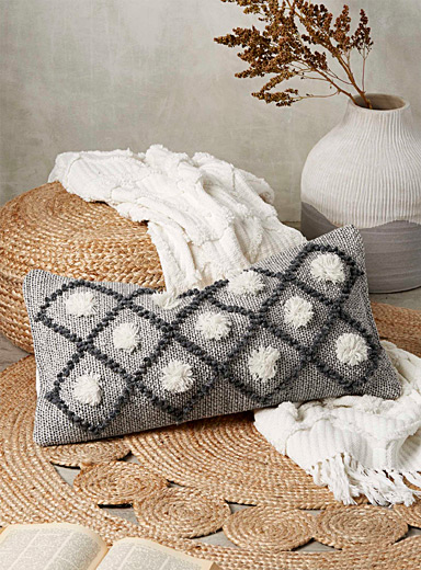 Simons Maison Grey Diamond & pompom cushion  14