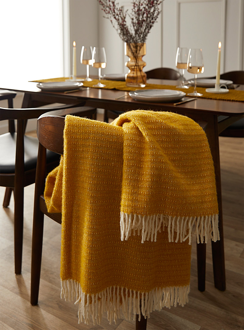 Ochre yellow pure wool throw  130 cm x 200 cm - Throws - Dark Yellow