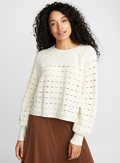 Pointelle wool sweater