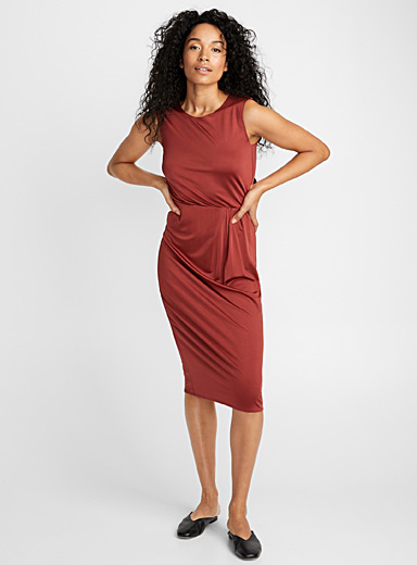 Paprika satin draped dress