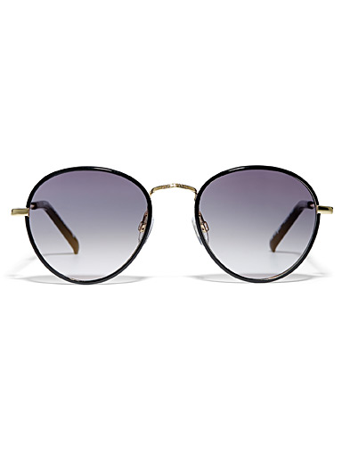 Le Specs Black Zephyr Deux round sunglasses for women