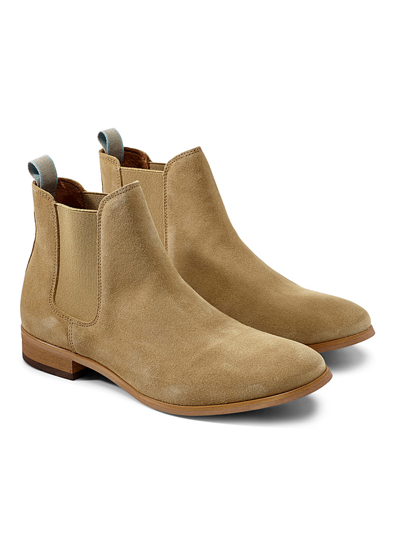 Shoe The Bear Cream Beige Suede Chelsea boots for men