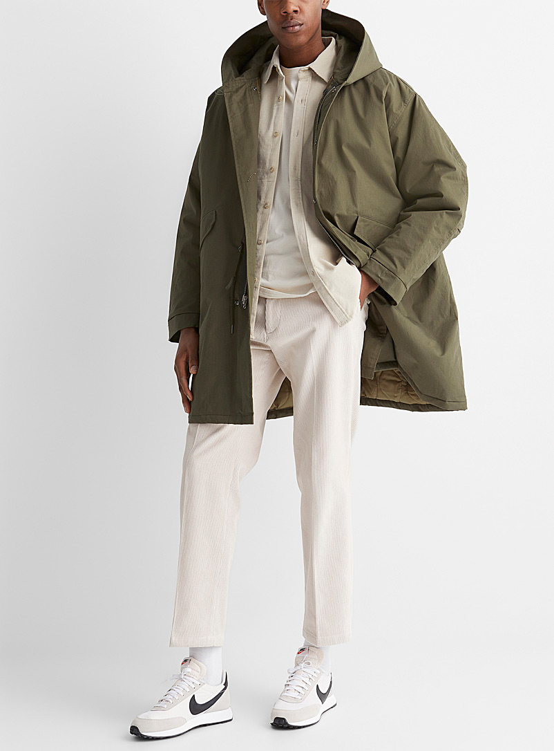 Le 31 Green Utility long khaki parka for men
