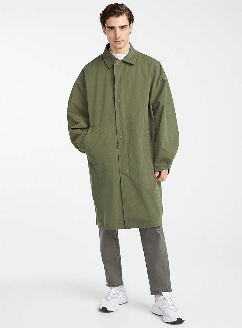 Le 31 Mossy Green Oversized military trench coat for men