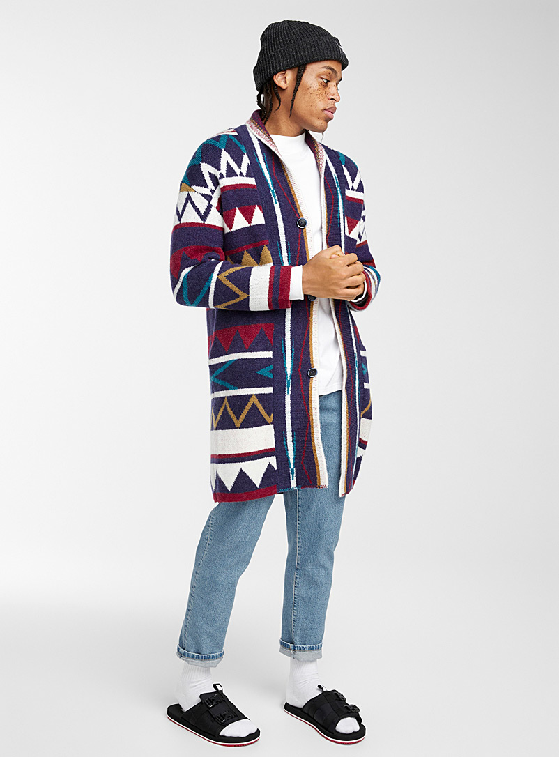 Djab Assorted Geo knit long cardigan for men
