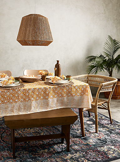 Flower market woven cotton tablecloth