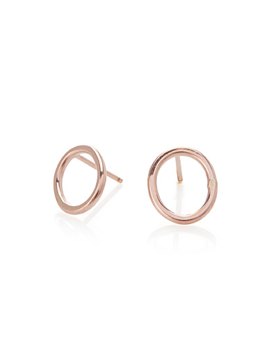 Rose gold oval earrings