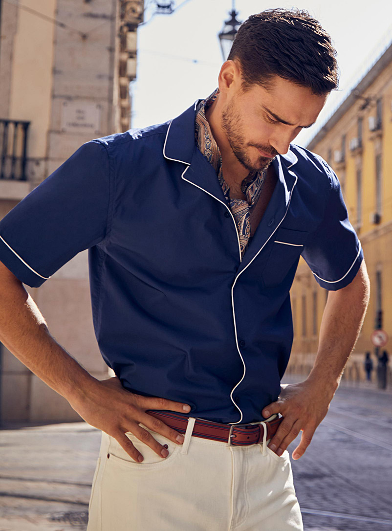 Piped pyjama shirt  Modern fit - Solid - Marine Blue