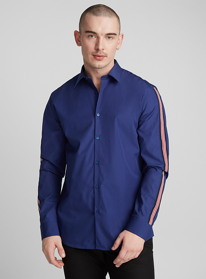 Striped band shirt  Modern fit - Solid - Marine Blue