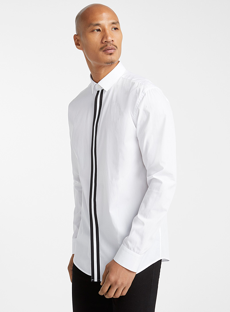 Duo band shirt  Modern fit - Long sleeves - Black and White