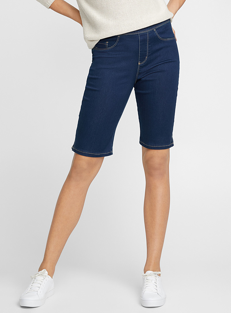 Stretch pull-on Bermudas - Long Shorts - Dark Blue