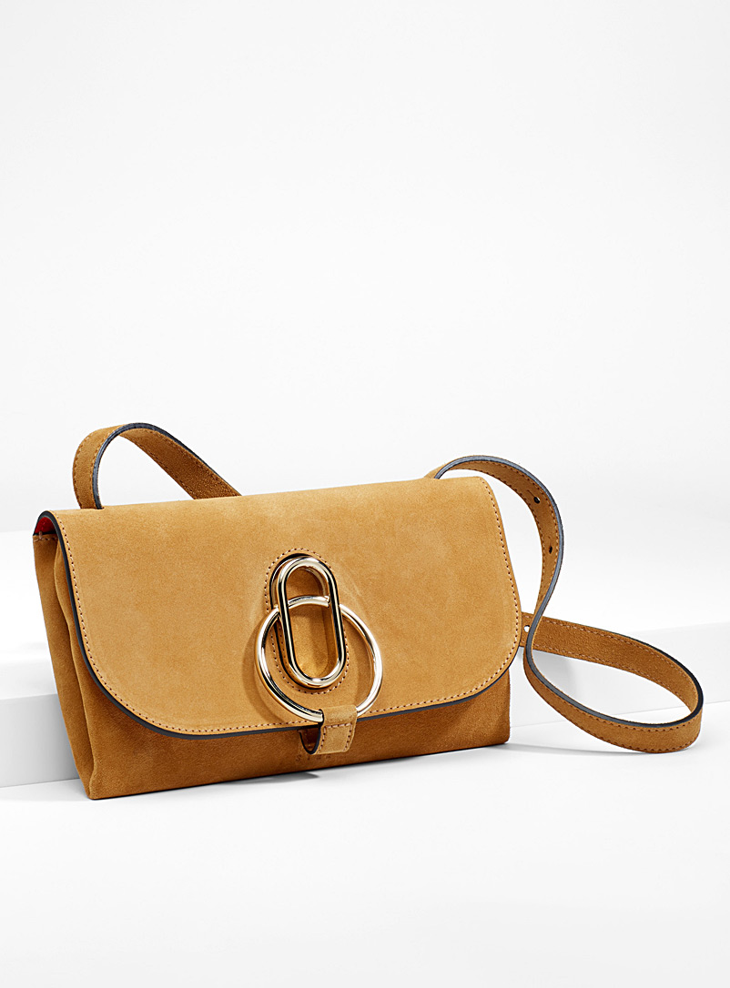 Ivy suede clutch - Designer Bags - Honey