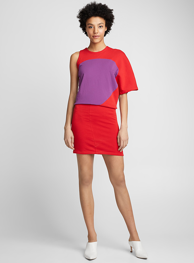 Asymmetric sleeve dress - Atlein - Red