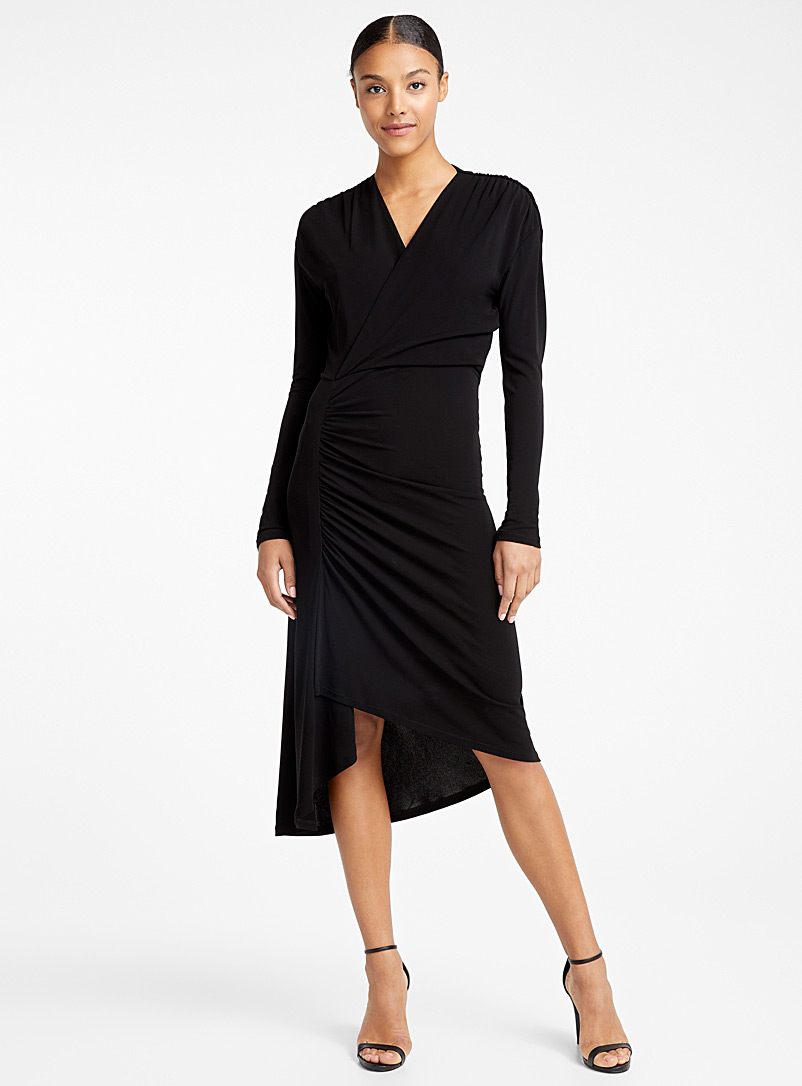 Atlein Black Draped dress for women