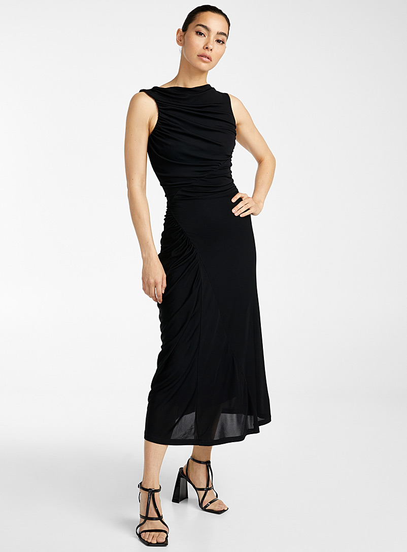 Atlein Black Ruched dress for women