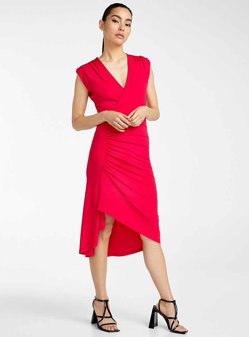 Jersey crepe V-neck dress