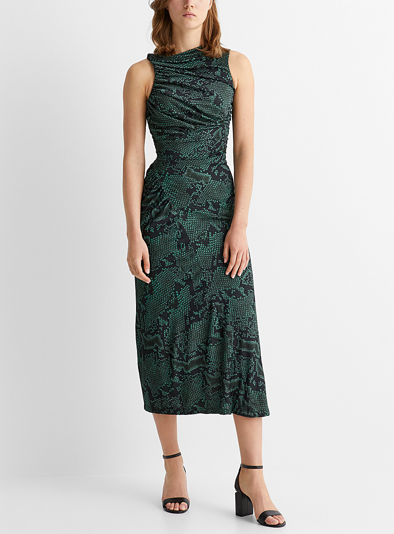 Atlein Mossy Green Reptile scale smocked maxi dress for women
