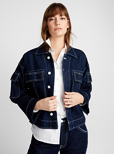 Graphic topstitched indigo jacket