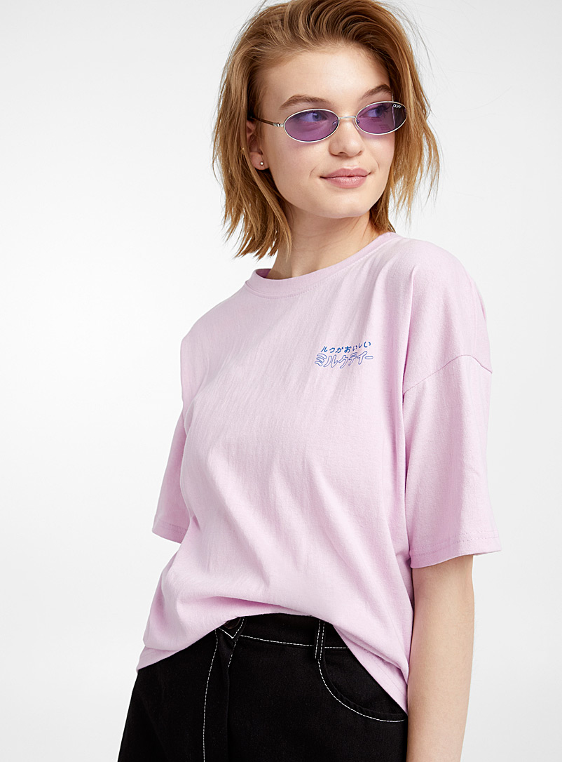Contrast typography T-shirt - Short Sleeves & ¾ Sleeves - Lilacs