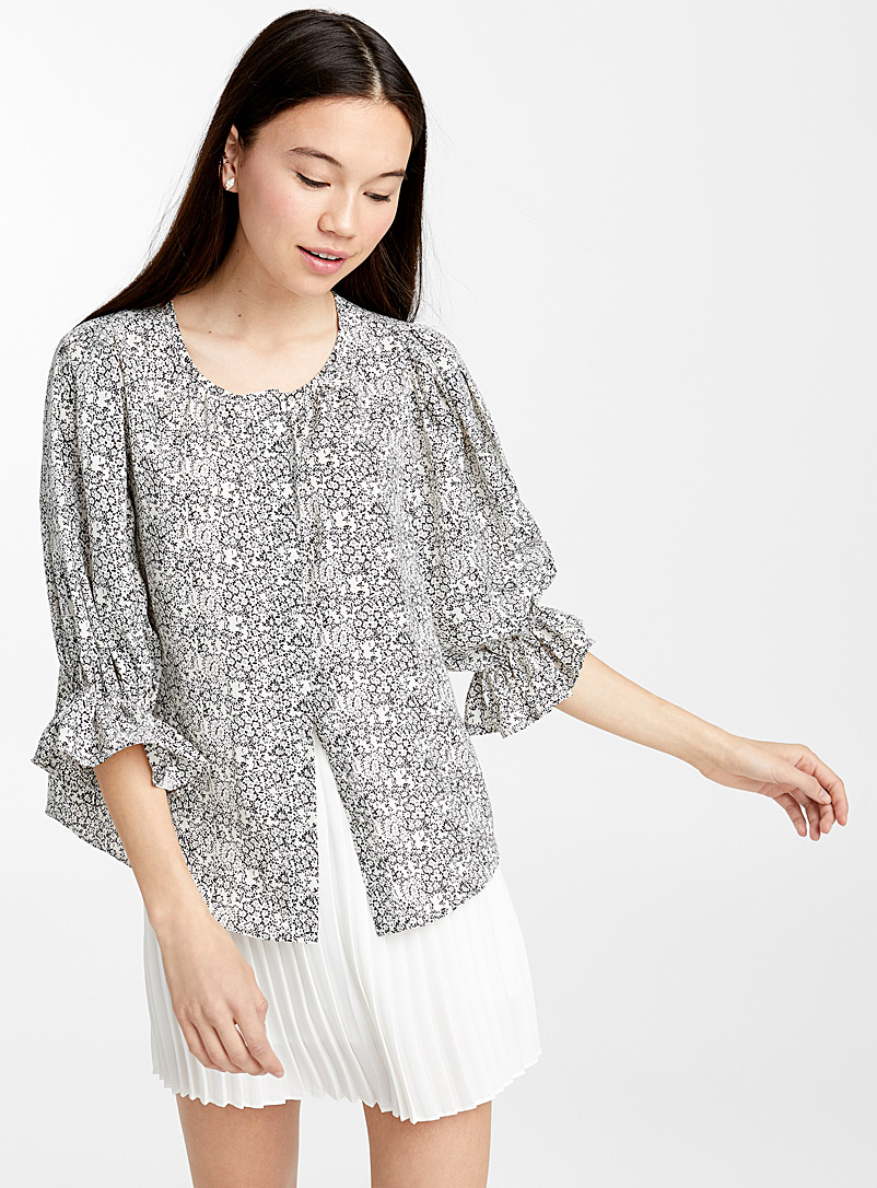 Mini-flower blouse - Blouses - Black and White