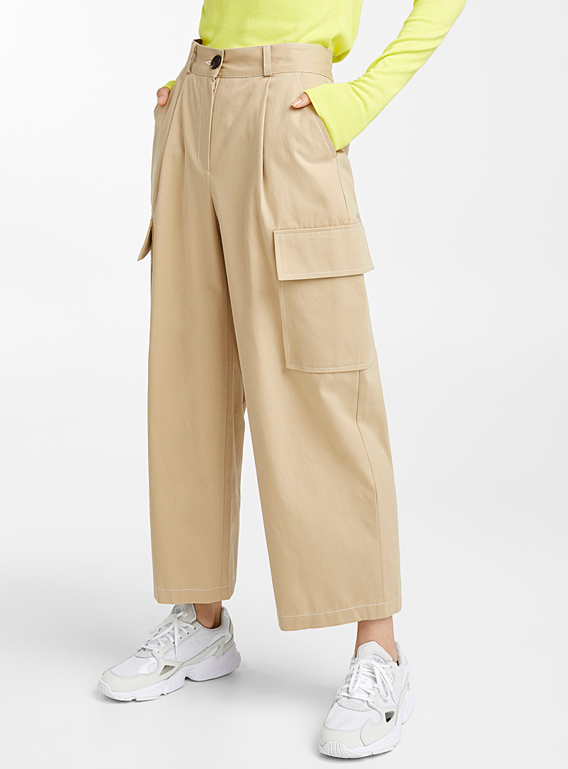 Twik Ecru/Linen Boyfriend cargo pant for women