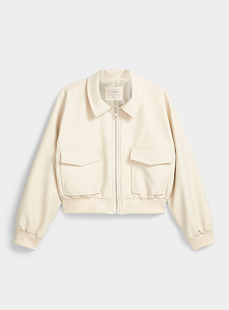 Twik Ivory White Utility faux-leather bomber jacket for women
