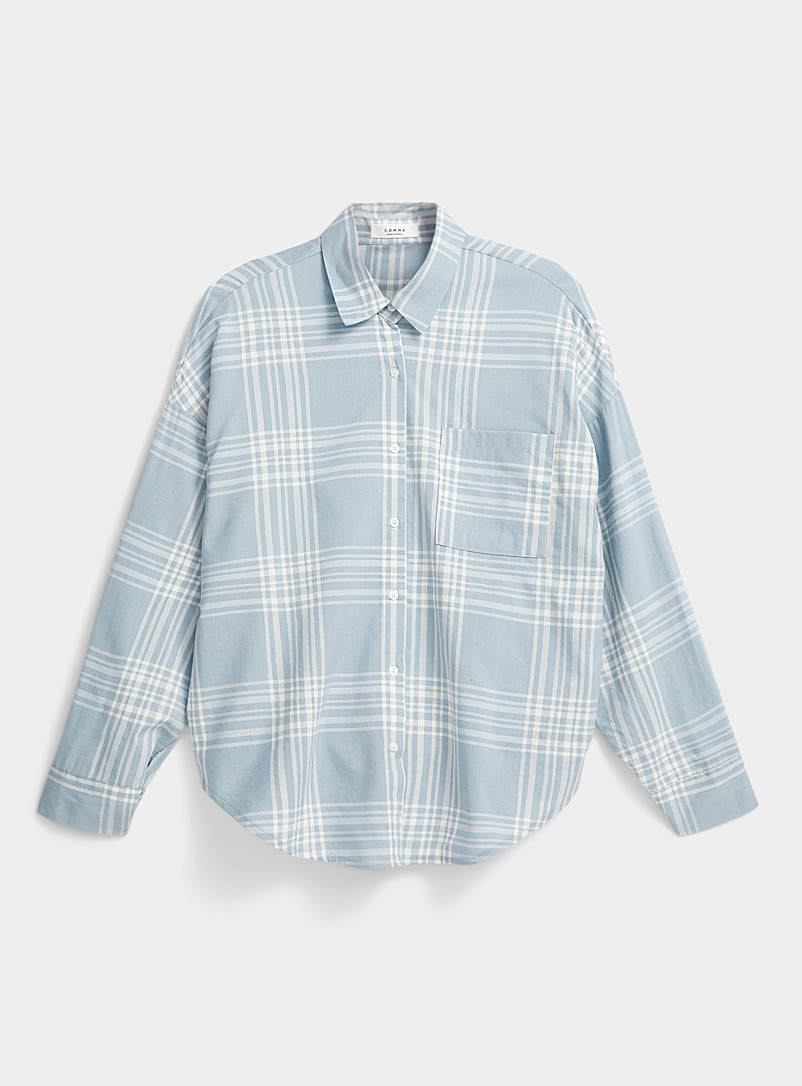 Twik Patterned Blue Sky blue check shirt for women