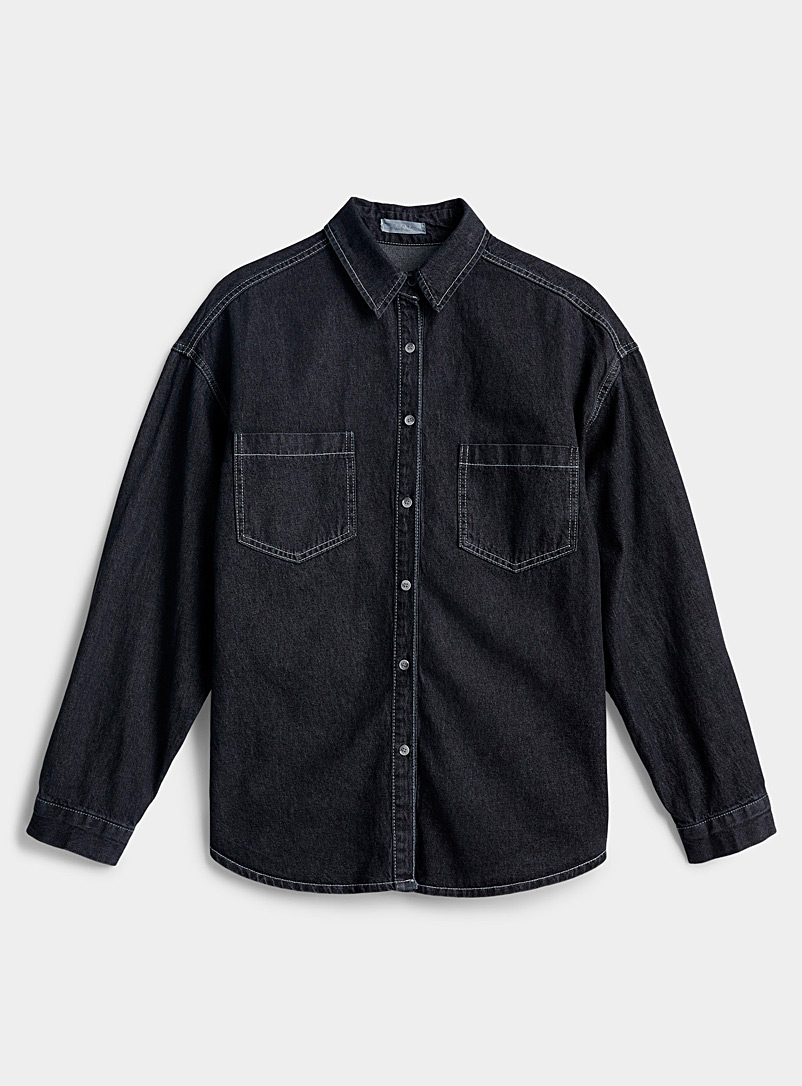 Twik Black Patch pocket jean shirt for women