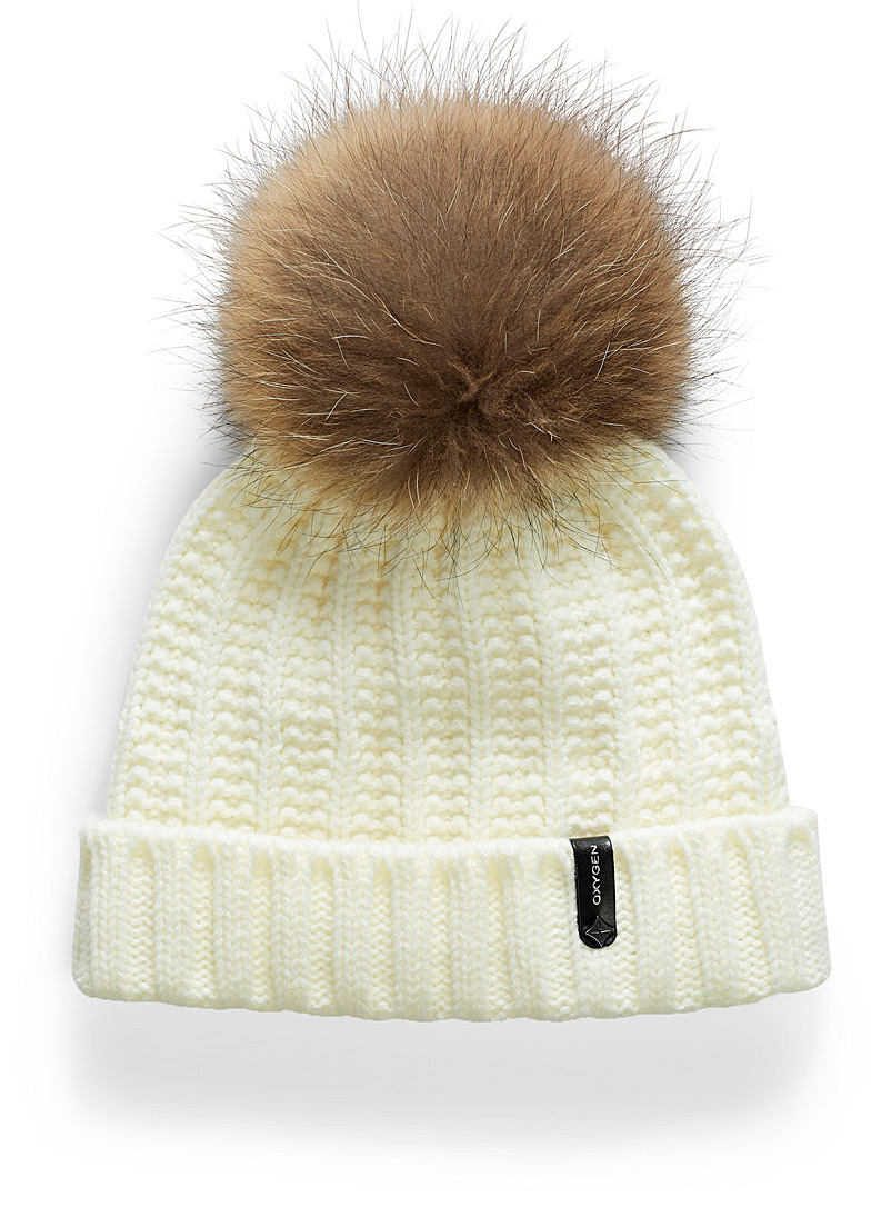 Pompom cuffed tuque - Tuques & Berets - Ivory White