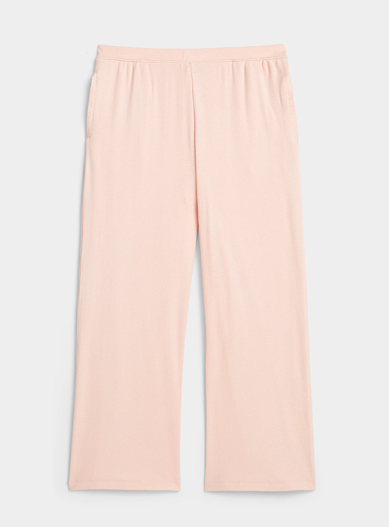 Skin Dusky Pink Organic cotton dusty pink ribbed pant for women