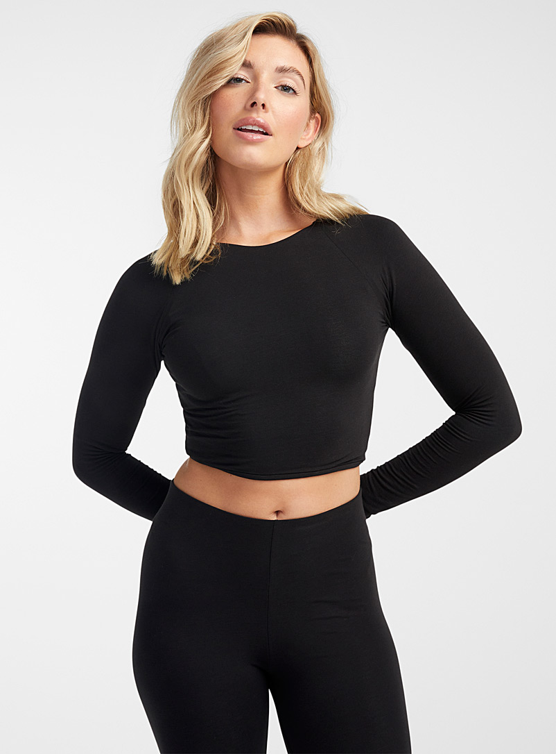 Skin Black Fitted cropped tee for women