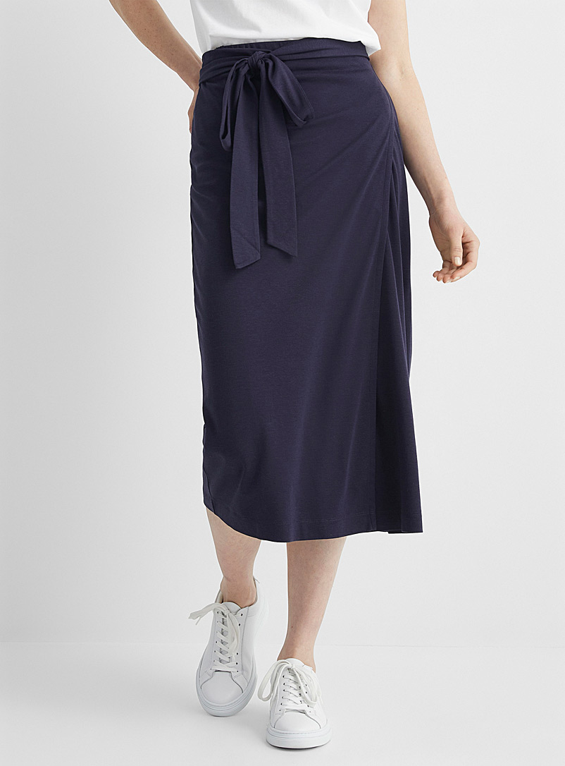 Contemporaine Marine Blue Soft jersey wrap skirt for women
