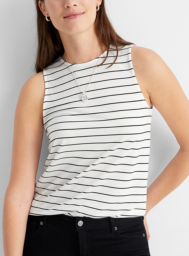 Contemporaine Patterned White Horizontal stripe tank top for women