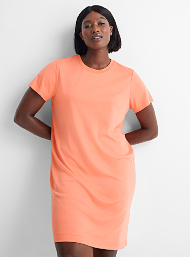 Soft jersey crew-neck T-shirt dress